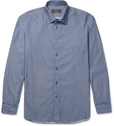 Brioni Slim-Fit Button-Down Collar Cotton-Chambray Shirt