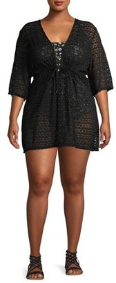 Time and Tru Women's Plus Size Solid Crochet Swimsuit Coverup