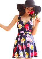 Missyhot Women's Swimwear Flower Printing Shaping Body One Piece Swim Dresses Swimsuit