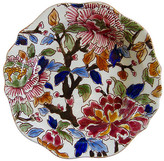 One Kings Lane Vintage French Faience Peonies Wine Coaster - The Emporium Ltd. - white/ochre/bordeaux/sapphire/sky/green/brown