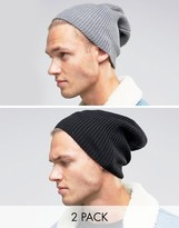 Asos Slouchy Beanie 2 Pack In Black And Gray SAVE