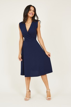 Yumi Wrap Front Sleeveless Midi Dress