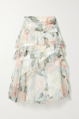 Jason Wu Collection Ruffled Floral-print Silk-crepon Skirt - Light gray