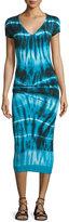 Young Fabulous and Broke Araya V-Neck Tie-Dye Midi Dress, Navy Tide Wash