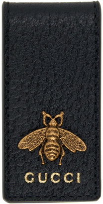 Gucci Black Leather Bee Money Clip