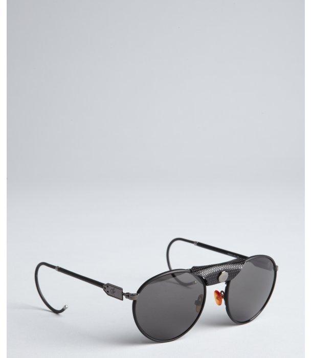 Proenza Schouler black limited edition round aviator sunglasses
