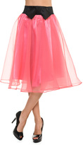 Bellino Pink & Black Bow-Accent A-Line Skirt