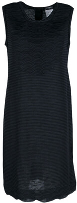 Chanel Navy Blue Striped Jersey Scallop Detail Sleeveless Dress M
