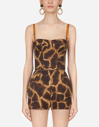 Dolce & Gabbana Bustier In Drill With Giraffe Print