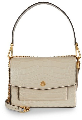 Tory Burch Robinson Croc-Embossed Double-Strap Convertible Shoulder Bag