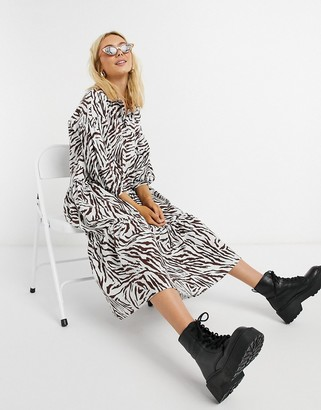 ASOS DESIGN midi shirt smock dress with tiering and puff sleeve in zebra print