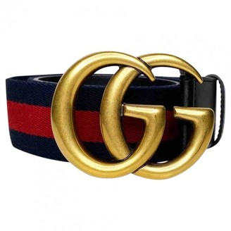 Gucci GG Buckle Navy Cloth Belts