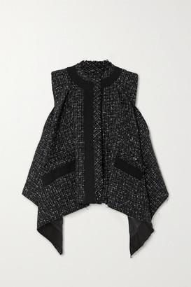 Sacai Draped Cotton-trimmed Frayed Tweed Vest - Black