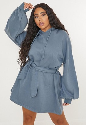 Missguided Plus Size Blue Balloon Sleeve Hoodie Dress