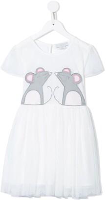 Stella McCartney Kids Mouse-Applique Tulle Dress