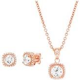Bliss 18k Rose Gold Sterling Silver Cz Halo Pendant And Post Earring Set.