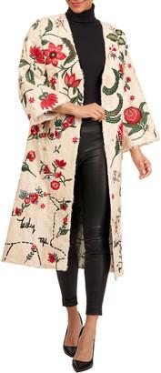 Oscar de la Renta Lamb Short Coat W/ Embroidery