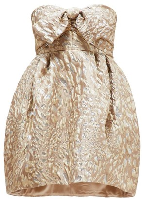 Alexandre Vauthier Metallic Leopard Jacquard Mini Dress - Womens - Beige Multi