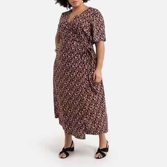 La Redoute Collections Plus Wrapover Maxi Dress in Floral Print Satin with Short Sleeves