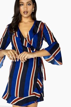 Outrageous Fortune Stripe Wrap Dress
