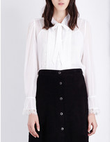 The Kooples Lace-detail silk-georgette blouse