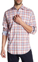 Thomas Dean Plaid Print Long Sleeve Shirt