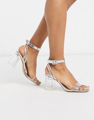 Public Desire Kym clear block heeled sandal in silver metallic