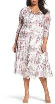 Komarov Plus Size Women's Print Chiffon Midi Dress