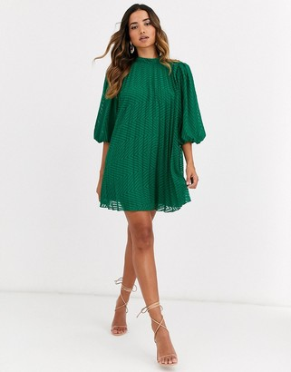 Asos Design DESIGN pleated trapeze mini dress with puff sleeves in dobby-Green