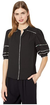 1 STATE Short Sleeve Contrast Piped Button-Down Blouse (Rich Black) Women's Clothing