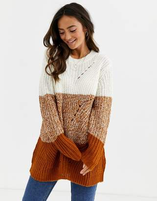 JDY oversized sweater in color block-White