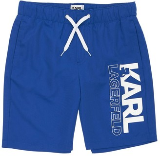 Karl Lagerfeld Paris Logo Printed Swim Shorts