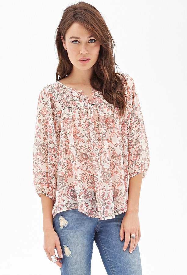 LOVE21 LOVE 21 Pintucked Floral Print Top