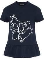 Markus Lupfer Printed Cotton-Jersey Peplum T-Shirt