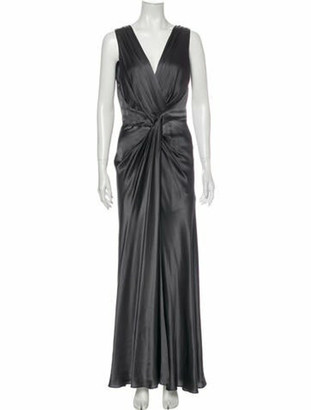 Alberta Ferretti V-Neck Long Dress Grey