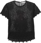 Chelsea Flower Scalloped embroidered tulle-cotton top