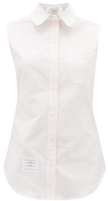 Thom Browne Contrast-collar Sleeveless Cotton-oxford Shirt - Light Pink