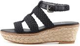 Stuart Weitzman Haiti Crochet Jute Wedge Sandal, Black