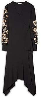 Tory Burch Embellished Sleeve Wrap Dress