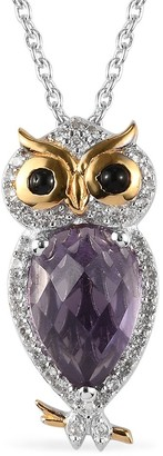 Shop LC Amethyst Silver Owl Necklace Pendant Size 20 Inch Ct 0.52 - Necklace 20''