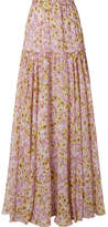 Giambattista Valli Pleated Floral-print Silk-chiffon Maxi Skirt - Pastel pink