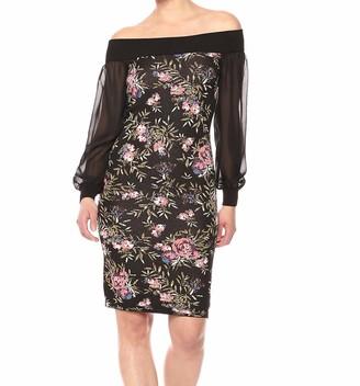 Rachel Roy Women's Off The Shoulder Floral Jacquard Sweater Dress