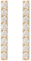 Candela 10K Yellow Gold CZ Detail Bar Stud Earrings