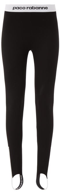 Paco Rabanne Logo-jacquard Jersey Stirrup Leggings - Black
