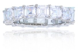 Macy's White Cubic Zirconia Eternity Band in Rhodium Plated Sterling Silver