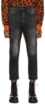 R 13 Black Ankle Drop Jeans