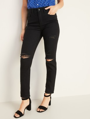 Old Navy High-Waisted Distressed Power Slim Straight Black Jeans For Women