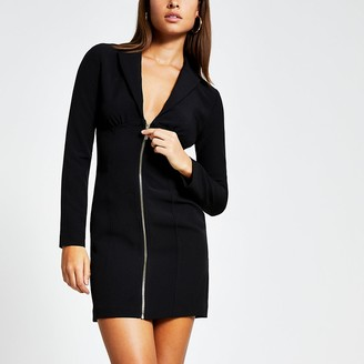 River Island Black long sleeve zip front blazer mini dress