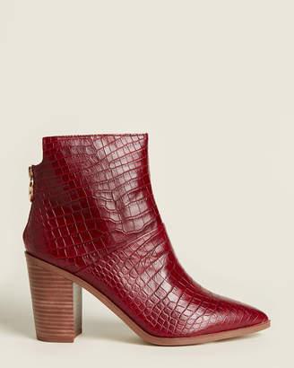 Franco Sarto Wine Mack Croc-Embossed Leather Ankle Booties