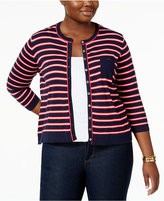 Tommy Hilfiger Plus Size Pocketed Striped Cardigan